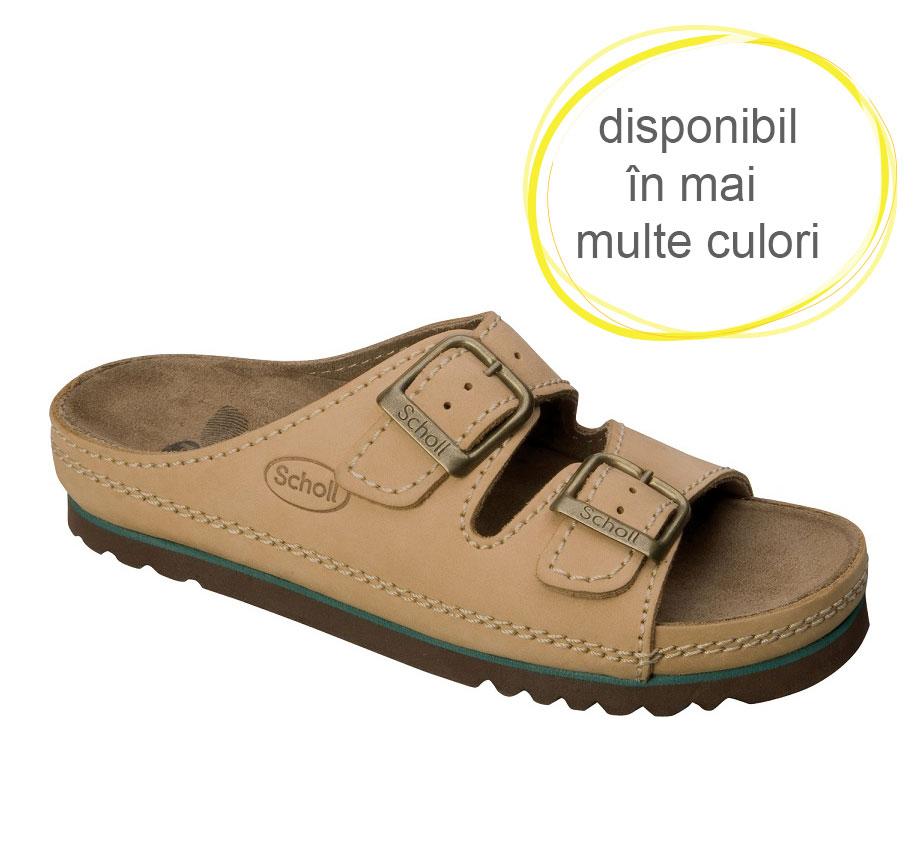Papuci din piele cu talpa din pluta Scholl Air Bag